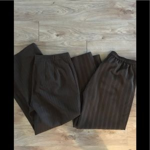 Two pairs of brown striped pants